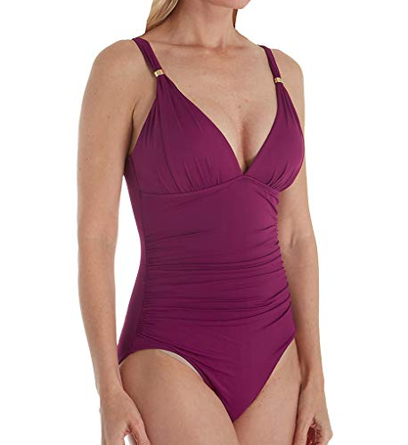 LAUREN RALPH LAUREN Beach Club Solids Slimming One Piece Swimsuit (LR9GA10) 4/Plum