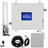 Amplificateur de signal 4G 3G 2G 3G et 4G GSM LTE 900 2100 1800 MHz pour appels et données, signal 2G 3G et 4G à la maison/bureau (900/1800/2100 MHz bande 1/3/8)