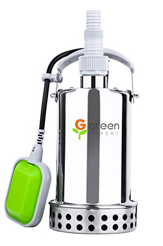 Green Expert Submersible Sump Pump Full Stainless Steel Max 2906GPH High Flow for Water Removal Tethered Float Switch Top Discharge Design for Basement Sump Pit Pools Dewatering Suit to Garden Hoses