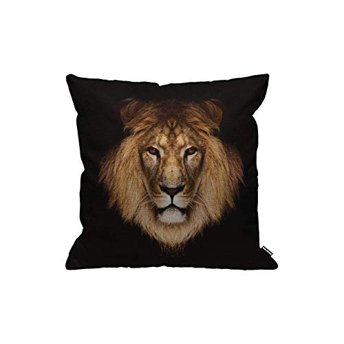 zhengshi Kissenbezug Löwe Cool Brown Lion Head On Black Background Throw Pillow Cover Home Decorative for Men/Women/Boys/Girls Living Room Bedroom Sofa Chair 45,7 x 45,7 cm Kissenbezug