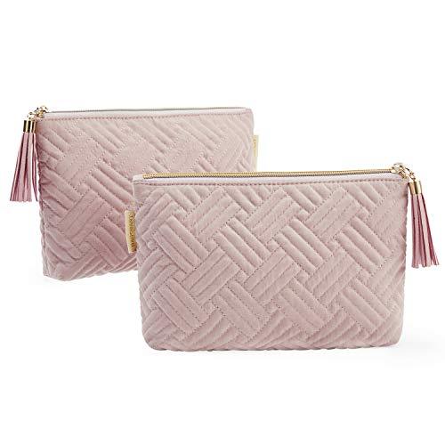 BAGSMART 2 Stück Klein Kosmetiktasche für Frauen Tragbare Make-up-Tasche Süße Federmäppchen Mädchen Mini-Reisetaschen für Make-up-Pinsel, Lippenstift Packing Cube
