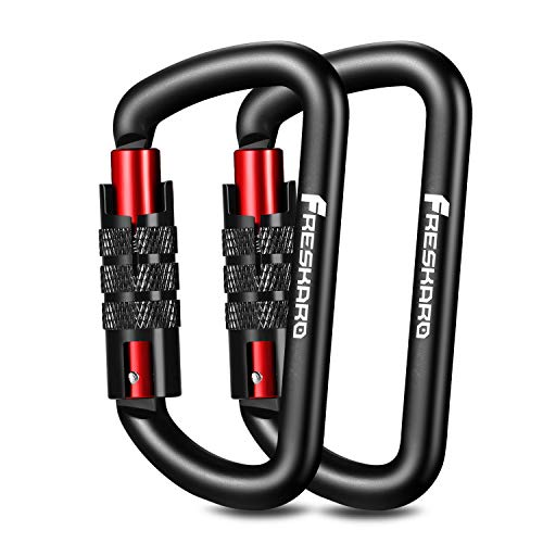 FresKaro 2020 New 3inch Twist Locking Karabiner-Clips, Gewichtsklasse 1224kg, Auto-Lock Aluminium Karabiner, für Hängematten, Yoga Swing, Camping, Schlüsselbund, Sichere Hunde, Schwarz