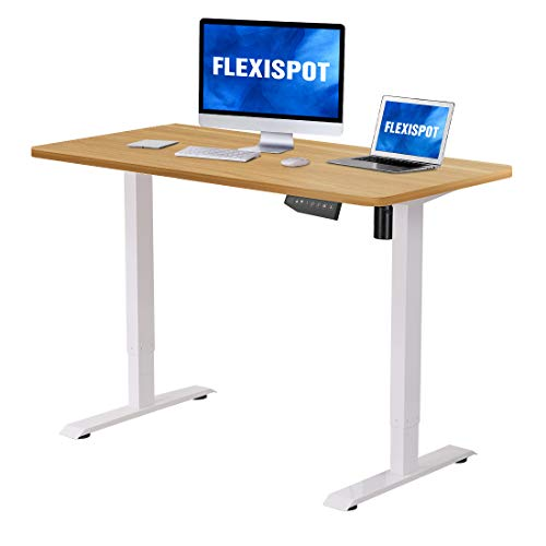 Flexispot Electric Height Adjustable Desk with Desktop 48 x 30 Inches, Whole-Piece Desk Ergonomic Memory Controller Standing Desk Stand Up Desk Workstation (White Frame + 48' Maple Top)