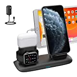 Wireless Charger, 4 in 1 Wireless Charging Station for ipad Apple Watch and iPhone Airpods Pro, Wireless Charging Stand for iPhone 11/11 Pro Max/X/XR/Xs/8 Plus Apple Watch Charger 5 4 3 2 1 Airpods 2