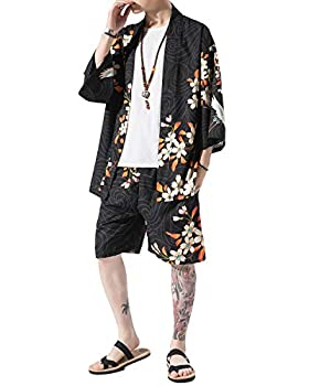 PRIJOUHE Men s Japanese Style Kimono Tops Pants Sets Lightweight Casual Seven Sleeves Open Front Cardigan & Shorts