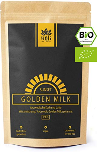 Holi Natural®️ Golden Milk Sunset. BIO Kurkuma Latte Mischung mit Ashwagandha. 30 Portionen. Hohe Bioverfügbarkeit. Hoher Curcumingehalt. Sorgfältig hergestellt in Deutschland