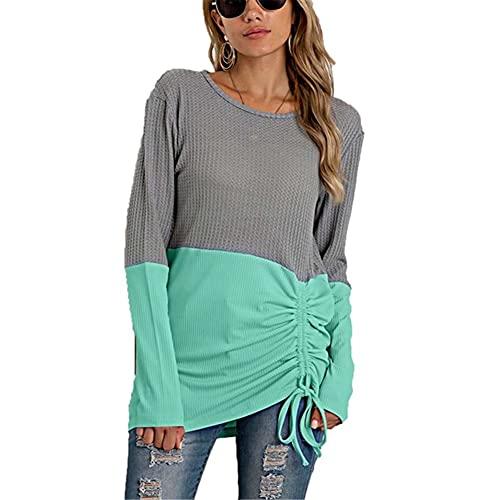 LYAZFC suéter de Costura Multicolor de otoño e Invierno para Mujer, suéter de Talla Grande con Cuello Redondo y Todo fósforo