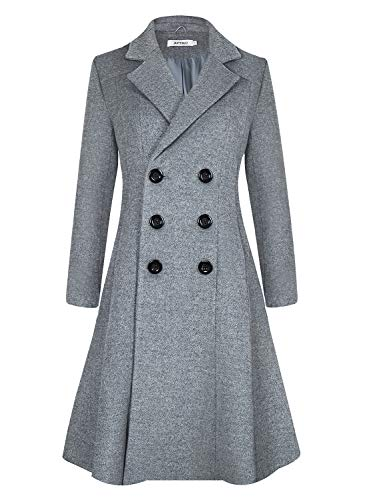 APTRO Damen Mäntel Lange Winter Wollmantel WS02 Grau XL