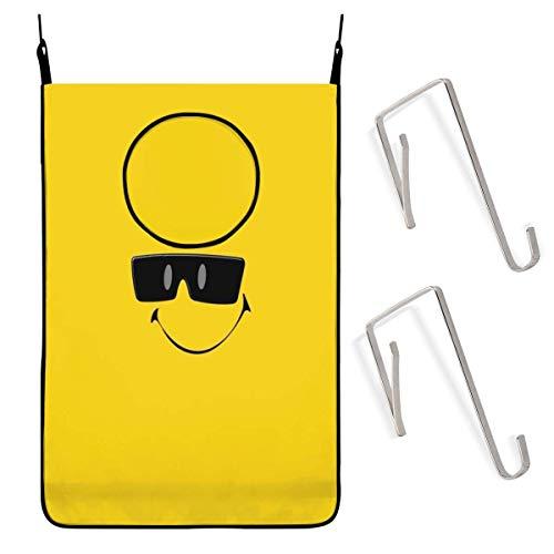 COOL-SHOW Smily_Face_in_Sonnenbrille Hängender Wäschesammler Beutel Schmutzkleiderbeutel mit Edelstahlhaken