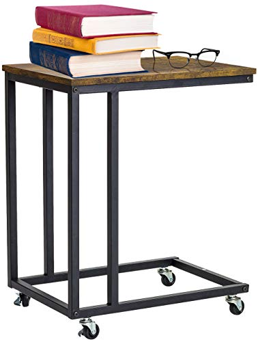 Sorbus Snack Side Table with Castors, Side Table for Laptop, Portable Rolling End Tables with Wheels Slides Next to Sofa, Couch, Bed, Accent Furniture, Rustic Farmhouse, Metal Frame (Rustic Brown)