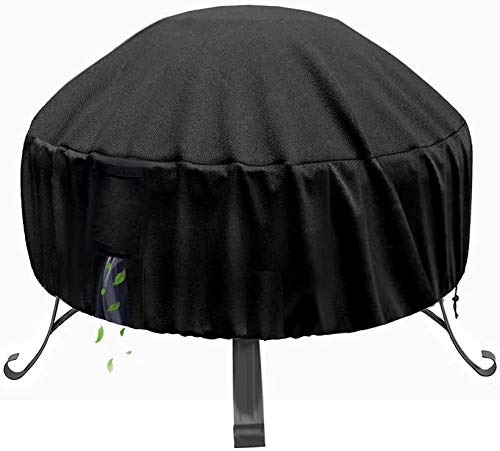 POMER 30in Fire Pit Cover Round - Premium Outdoor Heavy Duty Fabric with Silver PU Coating Cover for Stone Gas Fire Pit