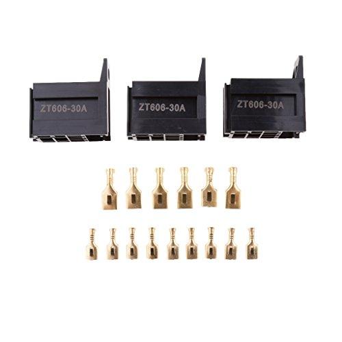 harayaa 3 Juegos Car Truck 30Amp Car Relay Socket Holder Conector de 5 Pines con Terminales