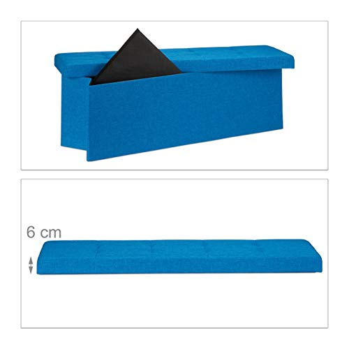 Relaxdays Faltbare Sitzbank XXL, Sitzcube mit Stauraum, Sitzwürfel aus Leinen, mit Deckel, HBT 38 x 114 x 38 cm, blau - 6