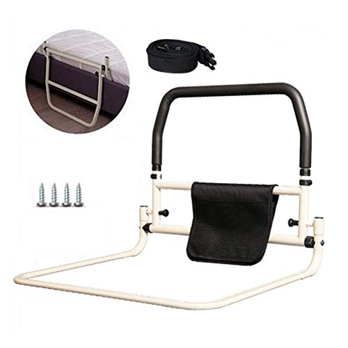 Nurth Foldable Bedside Handrail Portable Assisting get up Anti-Fall Secure Bed Rail No Punch Bed guardrail Prevention Aid with Seat Belt and Storage Pouch Bag for Seniors Home Hospital Bedroom (A)