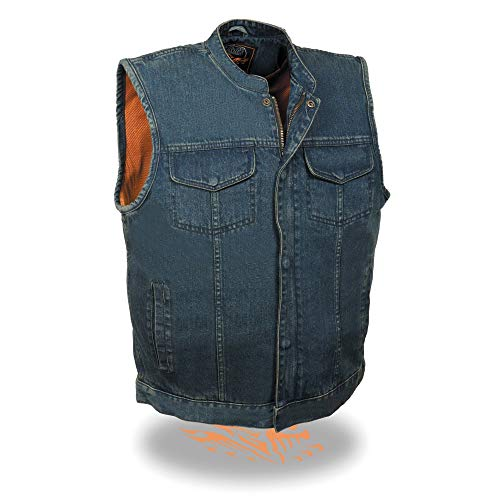 Milwaukee Performance MDM3000 Men's Blue Concealed Snap Denim Club Vest with Hidden Zipper - 7X-Large
