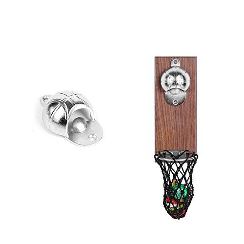 OURLITIME Abrebotellas de baloncesto con bolsa, montaje en pared, decoración del hogar, lata para vino, abrebotellas magnéticas, utensilios de cocina, bar o fiesta
