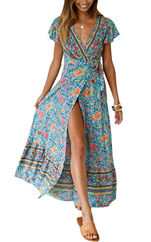 ECOWISH Women's Dresses Bohemian Wrap V Neck Short Sleeve Ethnic Style High Split Beach Maxi Dress Green Small