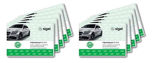 SIGEL FA614/10 Fahrtenbücher für PKW, A6 quer, 80 Seiten, 10er Pack - für Deutschland und Österreich, vom Finanzamt anerkannt