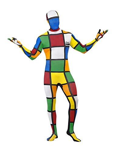 Smiffys Herren Second Skin Zauberwürfel Kostüm, Ganzkörperanzug und Bauchtasche, Größe: L, 38792