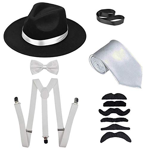 Men's Roaring 1920s Set Manhattan Fedora Hat,Y-Back Suspenders & Pre Tied Bow Tie, Gangster Tie & Fake Mustache (OneSize, Blackhat & Whitesuspenders)