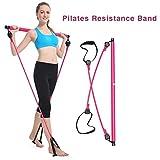 Dedeka Pilates Bar Kit avec Bandes de résistance,Barre détachable avec Boucle de Pied, Barre de Bande de résistance Longue pour l'entraînement de Musculation