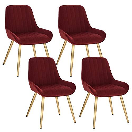 Lestarain 4X Sillas de Comedor Dining Chairs Sillas Tapizadas Paquete de 4 Sillas Cocina Nórdicas Terciopelo Sillas Bar Metal Silla de Oficina Burdeos