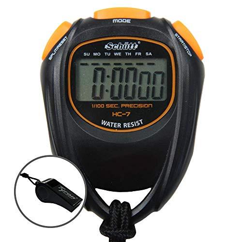 Schütt Stoppuhr HC-7 mit Trillerpfeife - Digitale Stoppuhr mit großem Display und gutem Druckpunkt | Hobby | Sport | Freizeit | spritzwasserfest
