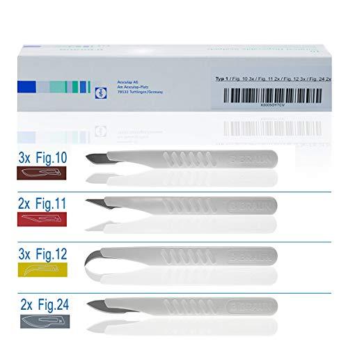 Horn Medical Einweg Skalpell Set, Typ I (10er Set) - Skalpelle in den Größen/Figuren, Fig 10 (3x), Fig 11 (2x), Fig 12 (3x), Fig 24 (2x), steril