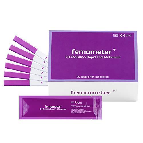 Femometer 20 fortgeschrittene Ovulationstest,25 miu/ml optimaler Sensitivität, Eisprung-Test zur Bestimmung der fruchtbaren Tage bei Kinderwunsch oder zur natürlichen Verhütung