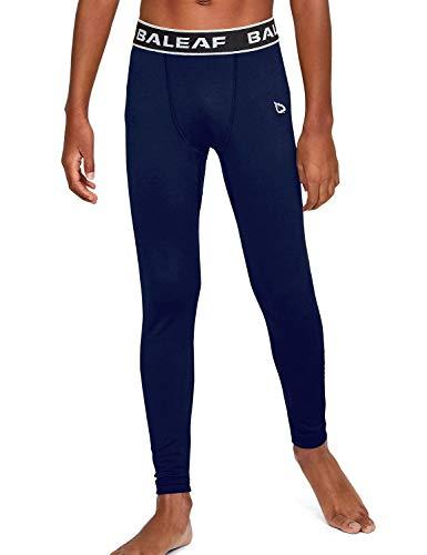 BALEAF Youth Boys' Compression Pants Sports Tights Base Layer Leggings Running Basketball Baseball Football Navy Size L
