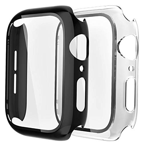 Fengyiyuda Funda[2 Pack] Compatible con Apple Watch 38/40/42/44mm,Estuche con TPU Protector de Pantalla,Caja Protector Anti-Choque Caso para IWatch Series se/6/5/4/3/2/1-Black/Clear,44mm