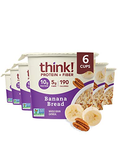 think! (thinkThin) Instant Oatmeal Cups - Protein & Fiber - Vegan, Steel Cut Oats, 5g Fiber, Non GMO, 10g Protein, Banana Bread, 6 Cups - Packaging May Vary