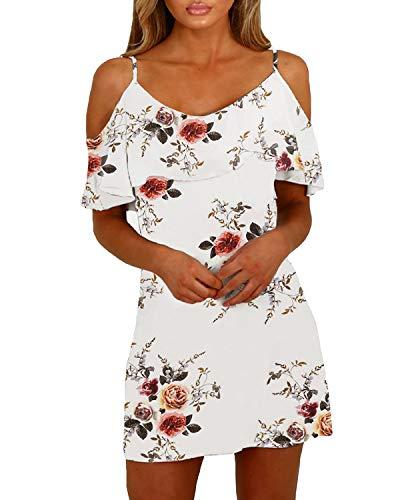 YOINS Sommerkleid Damen Sexy Tshirt Kleid Schulterfrei Tunika Kurzarm MiniKleid Strandkleid Blumenmuster Schulterfrei-Weiß EU32-34
