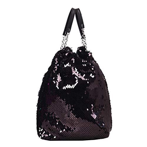 FENICAL bolso bandolera cruzado bolso de sirena con lentejuelas bolso de mano flippy con correa de cadena para mujer dama niña - negro
