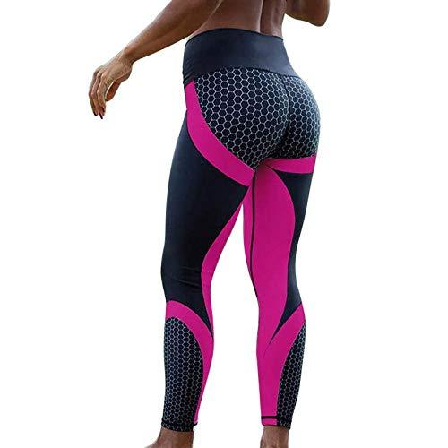 Yogabroek extra zachte legging met zakken voor dames,Yogabroek met honingraatprint, sportlegging voor dames-roze rood 1_M,Blouse met V-hals