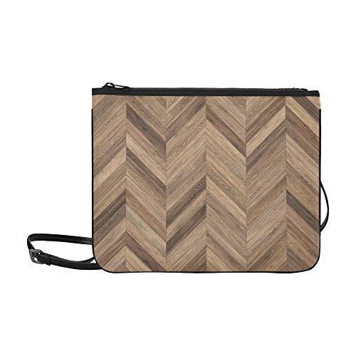 WYYWCY Hires Wood Parkett Textur Chevron Benutzerdefinierte hochwertige Nylon Slim Clutch Cross Body Bag Schultertasche
