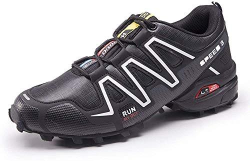 KUXUAN Fahrrad Schuhe Herren Rennradschuhe Mountainbike Fahrrad MTB Schuhe, rutschfeste und Atmungsaktive Freizeitschuhe,Black-44