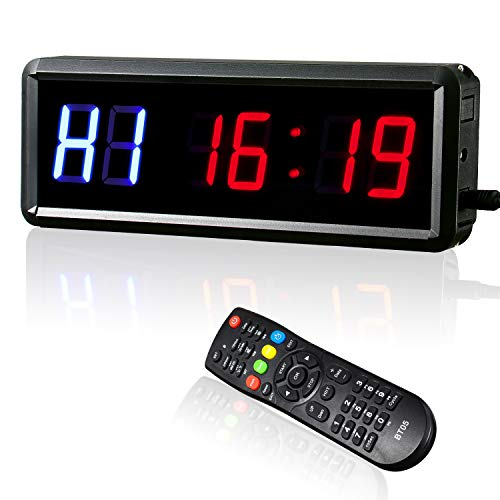 """Gym Timer with Remote, Alrigon LED Interval Timer Clock 1.5"""" Digits Down/Up Clock Stopwatch for Crossfit, Tabata, EMOM, MMA"""