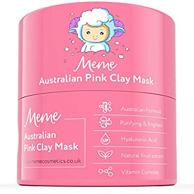 MeMe Australian Pink Clay Mask | Korean Skin Care, 100% Natural Kaolin Clay | Acne Recovery, Blackhead Deep Pore Cleanse, Purify & Brighten your Skin | Vitamin C & Hyaluronic acid 4.23oz/120g