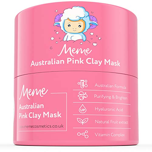 MeMe Australian Pink Clay Mask | Korean Skin Care, 100% Natural Kaolin Clay | Acne Recovery, Blackhead Deep Pore Cleanse, Purify & Brighten your Skin | Vitamin C & Hyaluronic acid 4.23Oz