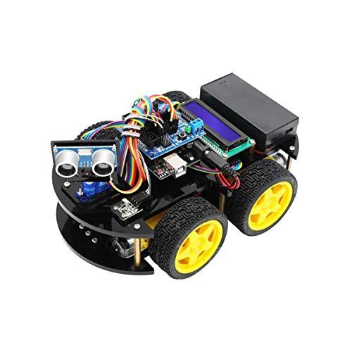 HARTI Kit de coche robot inteligente con placa R3, sensor ultrasónico, módulo Bluetooth para Arduino para UNO Auto Motor Robot Bloques de construcción mecánicos