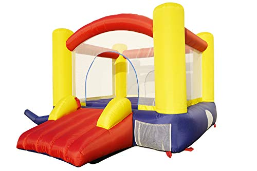 JiangChuan Inflatable Bounce House ,Outdoor Indoor Bounce House- Castle Jumper Slide Mesh Walls Jump House with Slide