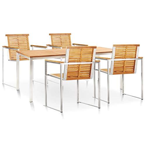 pedkit Conjunto de Mesa sillas,Mesa Salón y Sillas,Muebles de Jardin Exterior Conjuntos Set de Comedor para jardín 5 pzas Teca Maciza Acero Inoxidable