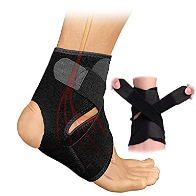 HiRui Ankle Brace Ankle Wrap, X Strap Stabilizer Ankle Support for Strain Sprains Arthritis Recovery Sports Protect, Running Basketball Baseball Soccer - Breathable/Adjustable, Fits All (1)