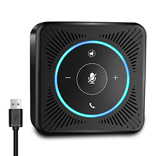 USB Speakerphone - eMeet M0 Conference Speaker for 4 People Business Conference Phone 360° Voice Pickup 4 AI Microphones USB Skype Speakerphone Conference Call Speaker Plug and Play