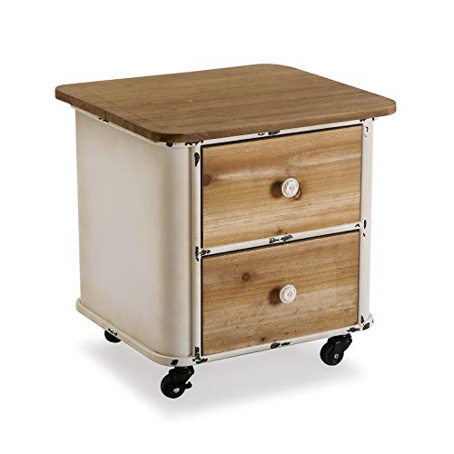 Salontafel BROEN, metaal en hout, oud, beige en bruin 39x44x44 Cms