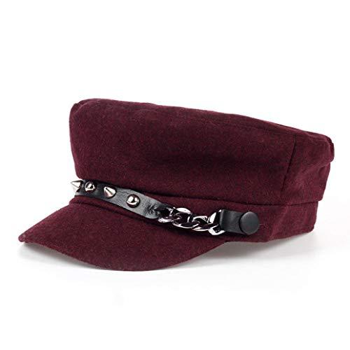 AROVON Sombrero de Boina Hombres y Mujeres, Sombrero de Newsboy Plano Gatsby Tweed Sun Hat Country Beret Baker Cap Painter Caps Rojo Rojo Vino Taille Unique