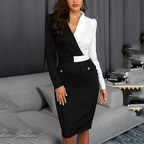 Partykleid Frauen Büro Arbeitskleidung Party Kleid Two Tone Metallic Button Bodycon Kleid-S