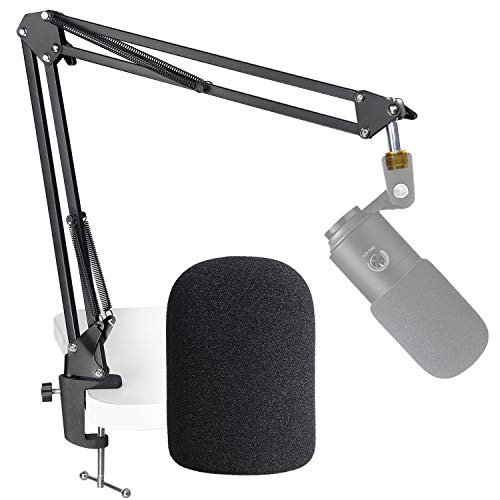 K669B Mic Boom Arm with Foam Windscreen, Suspension Boom Scissor Arm Stand with Pop Filter Cover Compatible with Fifine K669B Microphone by SUNMON