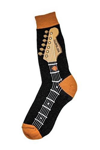 Foot Traffic, Men's Music-Themed Socks, Guitar Neck (Shoe Sizes 7-12)